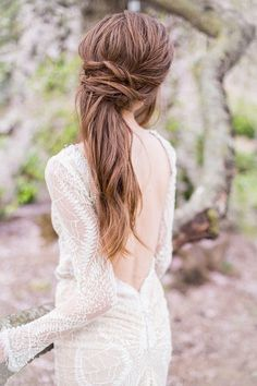 gorgeous backless dress and wedding hair