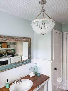 coastal bathroom remodel by Sand Dollar Lane coastal farmhouse style bathroom - Sand Dollar Lane- Sea Glass Chandelier, Coastal Chandelier, Chandelier Lighting, Bathroom Styling, Bathroom Lighting, Coastal Bathrooms, Gray Bathrooms, Bathroom Marble, Shower Bathroom
