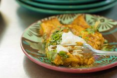 The Pioneer Woman posted this recipe for Enchilladas a few years ago and it is by far my favorite recipe for Enchilladas! The Green Chilies really make it, I add lots!