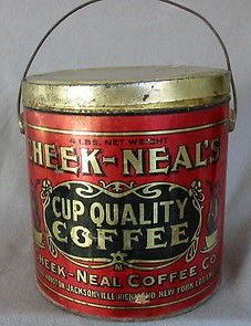 Cheek-Neal's Cup Quality Coffee Coffee Stands, Coffee Tin, Vintage Packaging, Coffee Packaging, Vintage Tins, Vintage Coffee, Antique Coffee Grinder, Tin Containers, Coffee Is Life