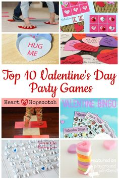 Entertainment for your Preschool Valentine's Day Party - featuring party games with FREE printables, for individual seated play, like BINGO and Tic-Tac-Toe, as well as games to challenge gross motor skills and get kids active and moving!
