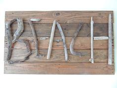 "Treasure Junkie: ""BEACH"" - Reclaimed Wood & Driftwood Sign"