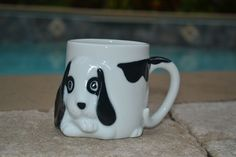 Dog Puppy 3D Coffee Mug Tail Handle Spot Circle Eyes Black White 11 ounces - #4C