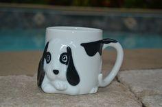 Dog Puppy 3D Coffee Mug Tail Handle Spot Circle Eyes Black White 11 ounces - 4C