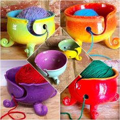 An archive of some of our yarn bowls with curly feet. This particular yarn bowl design has proven popular over the last year with them made in many different colours. These are currently made to order at £40GBP +P&P. Enquiries to earthwoolfire@ymail.com