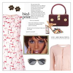 """""""Bird print dress"""" by frenchfriesblackmg ❤ liked on Polyvore featuring RED Valentino, Yves Saint Laurent, Dolce&Gabbana and Chantecler"""