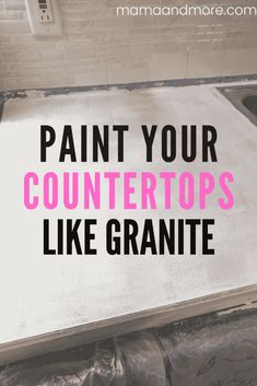 How to Paint Your Countertops Like Granite • Mama and More Painting Laminate Countertops, Cheap Countertops, Maplewood Kitchen, Craft Room Storage, Paper Storage, Craft Organization, Sea Sponge, Minwax, Cutting Tables
