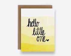 Hallo Hand wenig eine Grußkarte, Ombre Brief, Karte für werdende Eltern, Karte für neue Baby Glückwunsch Baby Karte, gefaltete Karte, Baby-Karte