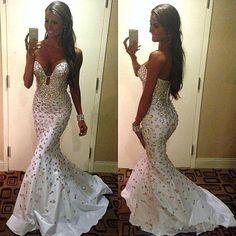 Sexy2016 Mermaid Glänzend Steine Brautkleid Hochzeitskleid Ballkleid Abendkleid  in Kleidung & Accessoires, Damenmode, Kleider | eBay!