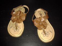 Leather-like flower sandals