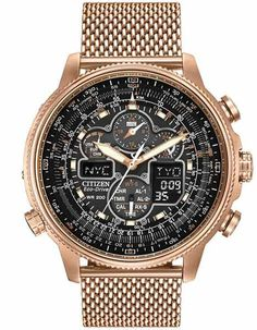 Citizen Eco-Drive Mens Navihawk AT Chrono - Rose Gold-Tone - Mesh Bracelet