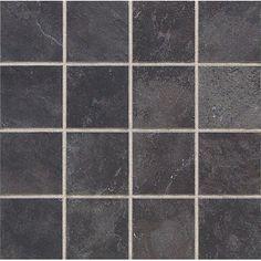 """Daltile Continental Slate 3"""" x 3"""" Asian Black Porcelain Mosaic Tile"""