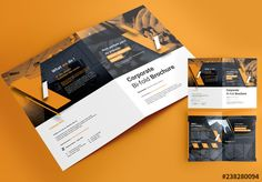 bifold brochure layout with orange accents brochure booklet