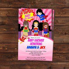 Superhero Girl Baby Shower invitations - Girl Superhero Baby Shower - Super heroes Digital Printable Invitation