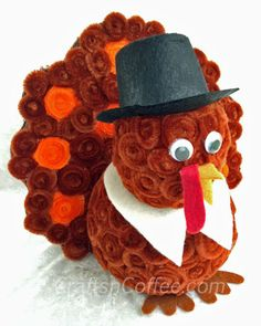 Cute Chenille Turkey. This is a great family craft -- kids love working with chenille stems. CraftsnCoffee.com. #HolidayIdeaExchange