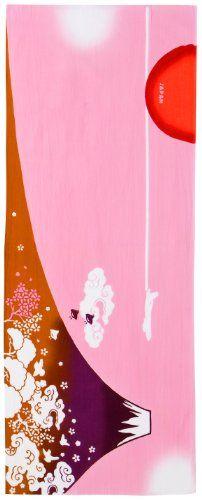 PRAIRIEDOG WAFUKA Tenugui Chusen Mt. Fuji Red Towel, Japanese, Traditional, Outdoor Decor, Prints, Fuji, Cotton Fabric, Kimono, Block Prints