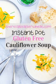 This Instant Pot Cauliflower Soup is QUICK, EASY, and hands-off thanks to the Instant Pot. Make it in under 30 minutes! Naturally gluten free – no flour required! Gluten Free Dinner Rolls, Best Gluten Free Desserts, Cauliflower Soup Recipes, Gluten Free Living, Us Foods, Fall Recipes, Instant Pot, Hands, Stuffed Peppers