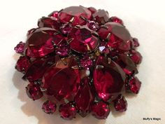Red Rhinestone Brooch Large Pear Stones Japanned by lauraab51, $45.00