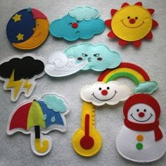 Cute idea for teaching weather and times of day - could put magnets! Quiet book page idea Felt Diy, Felt Crafts, Fabric Crafts, Diy And Crafts, Quiet Book Patterns, Felt Patterns, Sewing Projects, Craft Projects, Felt Stories