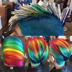 5 minutes with Alyssa Wiener. The Lisa Frank Hair Queen. - Rainbow Hair Colour # rainbow Hair 5 minutes with Alyssa Wiener. The Lisa Frank Hair Queen Funky Hairstyles, Pretty Hairstyles, Short Rainbow Hair, Unnatural Hair Color, Color Fantasia, Hair Color Techniques, Queen Hair, Unicorn Hair, Cool Hair Color