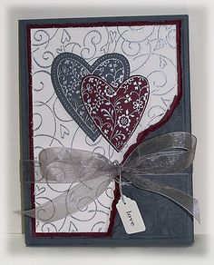 """Wedding Invitations view 1 - Always, Soft Swirls, Floral BG, Full of Life, Whirly Twirly wheel, Jewelry Tag & Label punches,  Sikver cord, Silver ultrafine EP, Gray Organza Ribbon, Sizzix Heart border EF, 4"""" ivory bridal lace trim, dyed crinkled seam binding (Etsy) - Trifold"""