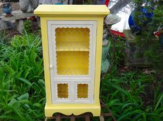 Yellow Cabinet Chicken Wire Rustic Curio Spice Rack
