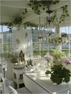 Shabby chic cottage, Shabby chic homes, Sunroom . House Design, House Styles, Sunroom Decorating, Chic Kitchen, Cottage Decor, Shabby Chic Cottage, Chic Decor, Shabby Chic Bathroom, Cottage Style