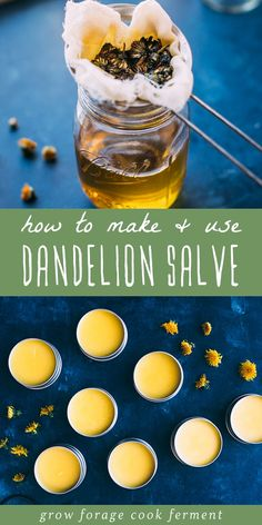 Learn how to make this dandelion salve recipe using foraged dandelions! This homemade herbal salve is especially good for sore muscles, joints, and dry skin. Natural Health Remedies, Herbal Remedies, Cold Remedies, Healing Herbs, Natural Healing, Holistic Healing, Natural Medicine, Herbal Medicine, Salve Recipes