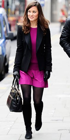 Pippa Middleton stepped out in a pink dress by Sonia Rykiel, which featured a knitted sweater attached to a matching skirt. She paired the look with a black blazer, knee-high boots and a Modalu bag.