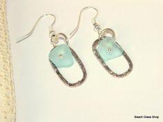 Seaglass Earrings Pale Blue Lake Erie FREE by beachglassshop, $25.00