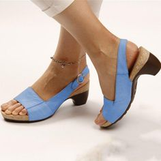 Elegant Comfortable Low Chunky Heel Summer Sandals – oskarr