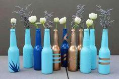Painted recycled glass bottles #bestOutOfWaste #HomeDIY