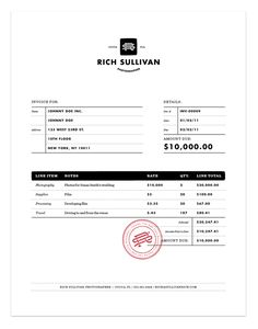 Super cool invoice.