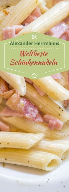 Schinkennudeln: Das weltbeste Rezept für Schinkennudeln The simplest things are every now and then the best. That's why BAYERN 1 star chef Alexander Herrmann reveals the world's best recipe for schnitzel noodles. Fast preparation and delicious. Noodle Recipes, Shrimp Recipes, Salmon Recipes, Pizza Recipes, Vegetarian Recipes, Dessert Recipes, Cooking Recipes, Grilled Recipes, Whole30 Recipes