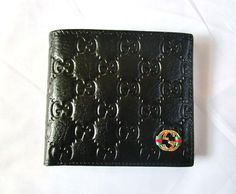 New Gucci 365444 WGP Men's Black Leather GG Bi-fold Wallet With Free Gucci Cap.  #SteelCollection
