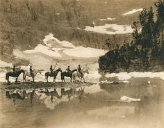 Blackfeet Indians at Iceberg Lake in Glacier National Park, by Roland W. Reed.