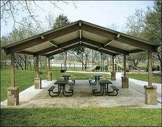 20' x 44' All Steel Gable Savannah Pavilion Shown w/Painted Steel Frame and Customer Supplied Concrete Columns, Tables Not Included