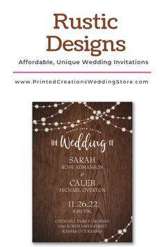 Trendy Rustic Invitations - large selection of affordable designs to complement you and your special celebration.  Shop these and many more rustic wedding invites at www.PrintedCreationsWeddingStore.com.  #rusticwedding  #rusticweddinginvitations  #rusticweddinginvites  #rusticinvites  #rusticinvitations  #rusticinvitationswedding  #weddinginvitations  #invitationswedding #weddinginvites #inviteswedding #barnwedding #weddinginvitationsrustic