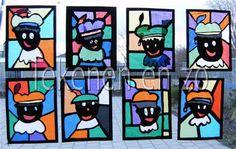 """stained glass/ zwarte piet """"glas in lood"""" met zwarte repen het """"lood""""maken , gezicht van piet van zwart vel papier. Vliegerpapier erachter plakken.....et voila!"""