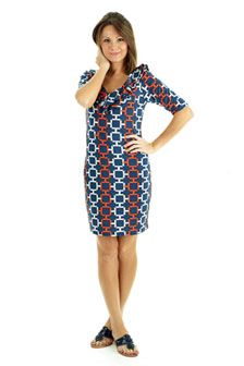 Tiffany Ruffle-Neckline Shift Dress: $138.00  Available in: Navy/Orange and Black/Red