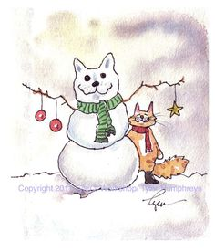 Cat Card Cat Christmas Greeting Card Cat Art by tylersworkshop, $3.50