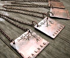 Wine Varietal ID / Bottle Necklace in Copper. Cute gift for wine lovers, housewarmings, or Wine Cellar ID markers.
