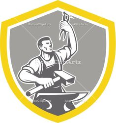 anvil, blacksmith, crest, hammer, holding, illustration, industrial, industry, isolated, male, man, metal worker, pliers, retro, shield, sle...