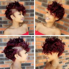 Tutorial to get Women's Sexy Burgundy Messy Curly Pixie Short Hairstyle Haircut Styles For Women, Short Haircut Styles, Short Burgundy Hair, Natural Hair Care, Natural Hair Styles, Curly Pixie, Curly Short, Pixie Cut, My Hairstyle