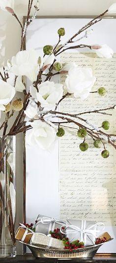 Faux Flocked Magnolias