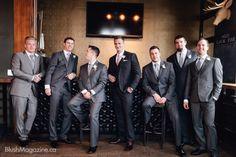 Modern Ukranian Winter Wedding. Groomsmen, Grey Tuxedo, Men's Club