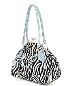 Aqua Blue Zebra Print Kisslock Handbag with Cell phone Case « Only Women's Clothing $42.99