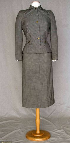 1940s GILBERT ADRIAN WOOL SKIRT SUIT,  small black & white check, gold male portrait buttons, deep demi-lune front & back yoke