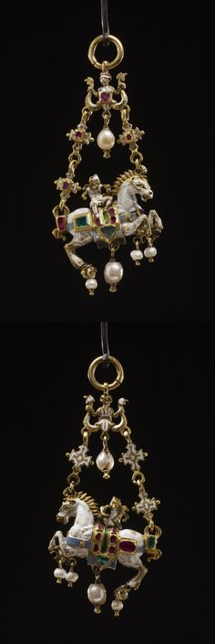 Pendant jewel; gold; form of galloping white horse ridden by blindfolded cupid; saddle-cloth set with two lines of small rubies, triangular emerald at each end; one large pendant pearl and four smaller ones attached to hooves; double suspension chain of enamelled quatrefoils set with ruby; double-tailed mermaid at top with ruby at breast. Late 16th century, Germany, Height: 6.8 cm (excl. suspension ring but incl. pendant pearl at rear hoof of horse) Height: 7.6 cm (max)Width: 3.6 cm Depth: 1…