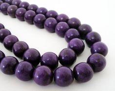 Plum Purple Howlite Turquoise Round Beads 14mm Beads by BijiBijoux, https://www.etsy.com/listing/187967037/plum-purple-howlite-turquoise-round